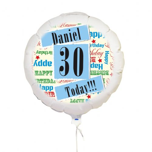 Personalised Blue Birthday Age Balloon